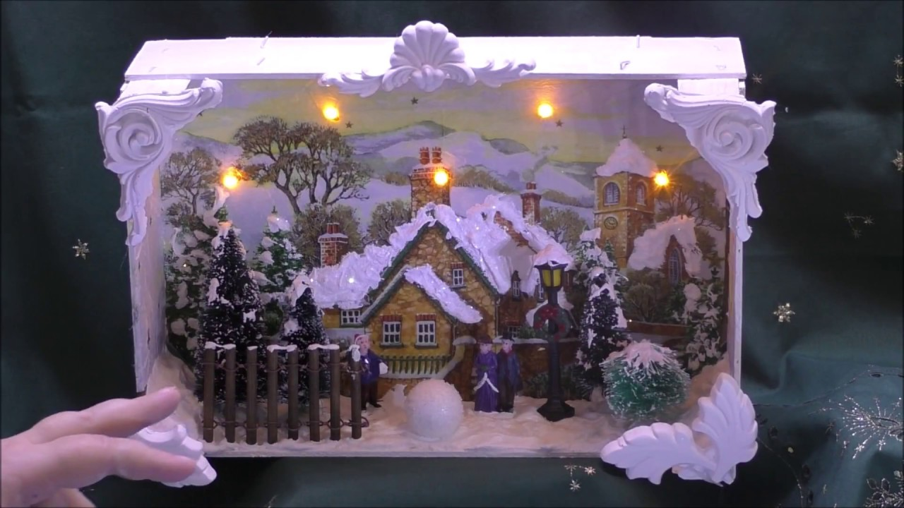 Dekokiste Weihnachten Shadow Box Winter Mandarinenkiste