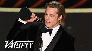 Brad Pitt Wins His First Acting Oscar - Full Backstage Interview