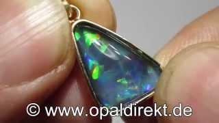Schwarzopal-Triplette, Opal-Triplette, Opal Anhänger000711 a