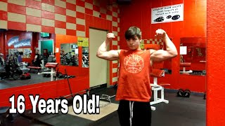 GYM VLOG - 16 YEAR OLD - CHEST AND BICEPS