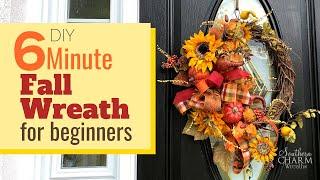 DIY How to Make a 6 Minute Fall Wreath | Easy DIY Fall Wreath Tutorial