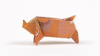 Geld falten zur Hochzeit: Schwein aus Geldschein falten