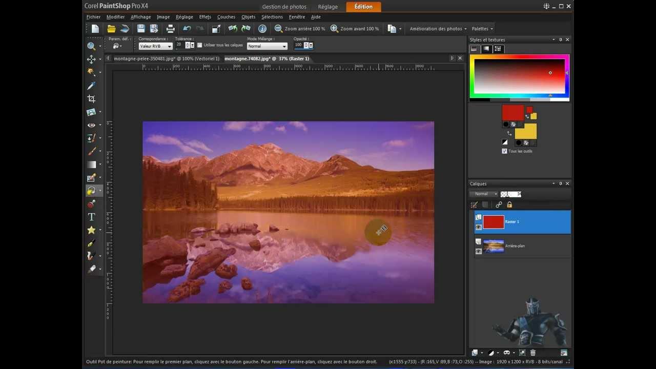 Extrêmement tuto paintshop pro x 4 pot de peinture et degradé - YouTube OC57