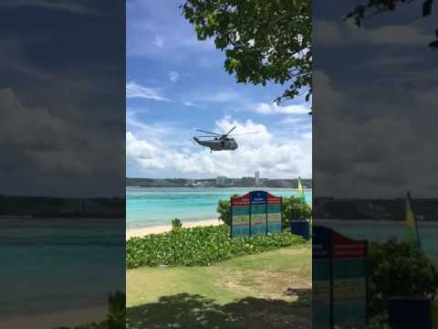 Military helicopter flies extremely low over Ypao Beach
