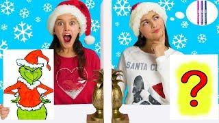 Twin Telepathy 3 Marker Challenge -The Grinch Christmas Edition -Sis vs Sis!!