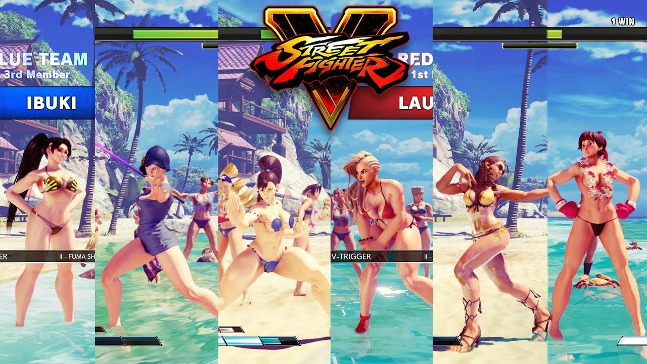 Street Fighter V AE Chun Li/Falke/Ibuki vs Laura/Karin/Sakura PC Mod #1