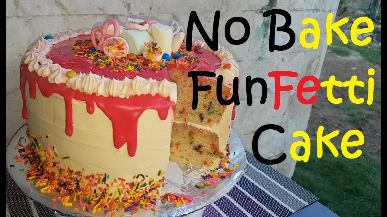 No Bake Vanilla Butter Funfetti Cake Funfetti cake recipe