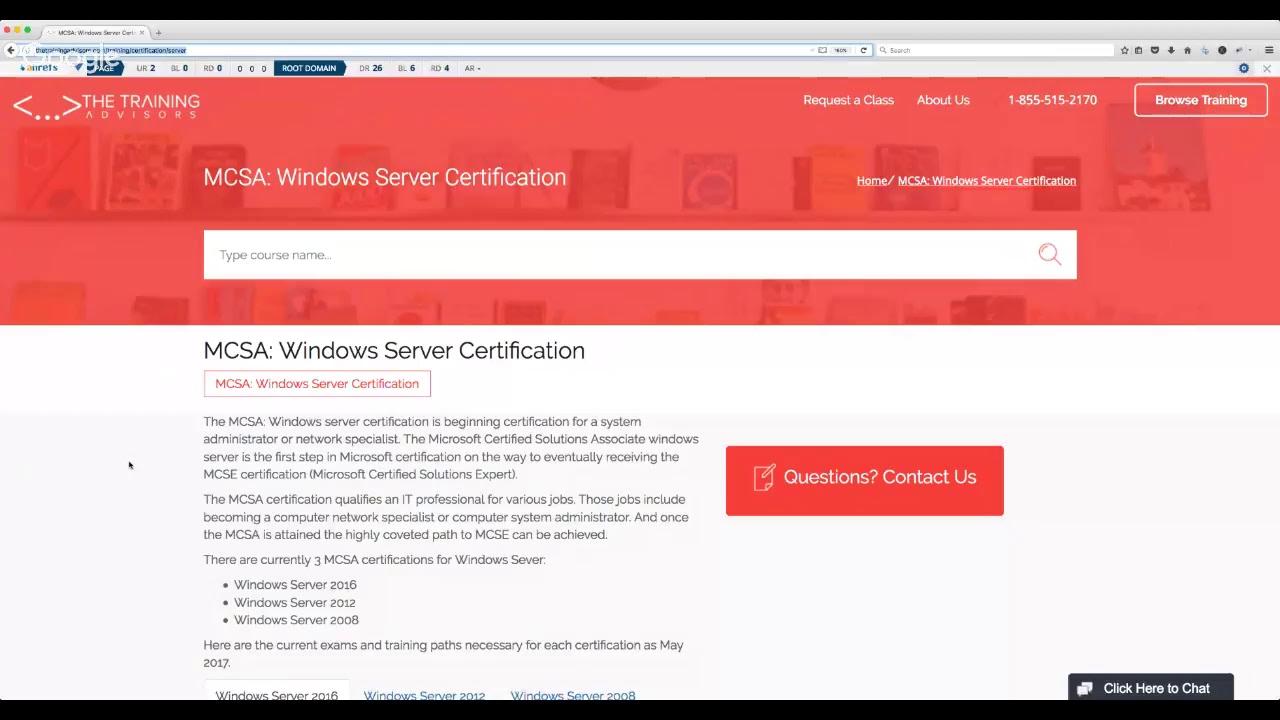 Windows Server Certification Mcsa Youtube
