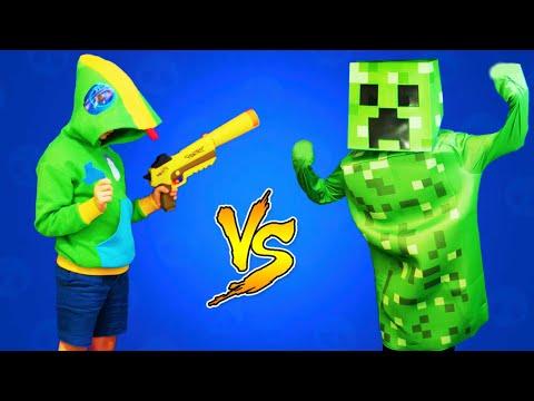 ЛЕОН ПРОТИВ КРИПЕРОВ В реальной жизни Brawl Stars VS Minecraft