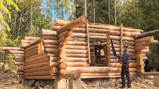 After: One Year Alone Building Log Cabin | Where Is The Door!!!