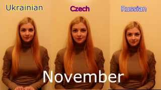 Ukrainian, Czech and Russian: months