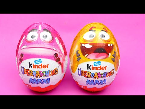 kinder-maxi-surprise-eggs-unboxing-monster-toy-edition