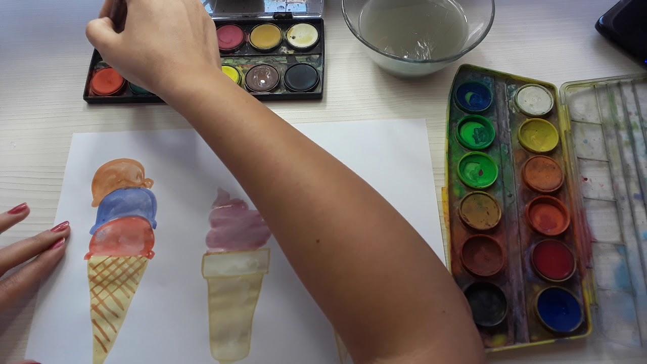Suluboya Ile Külahta Dondurma Yapılışı Youtube