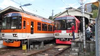 えいでんまつりで運行された臨時列車イベントトレイン「きらら」より一足先に八瀬比叡山口を後にする比叡山きららの折り返し