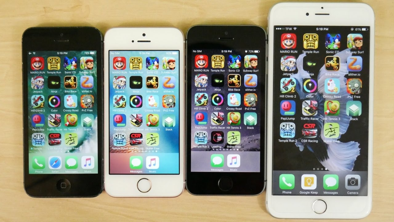 iphone 6 vs 5 iphone 5 vs iphone 5s vs iphone se vs iphone 6s gaming 15110