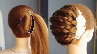 Latest French Roll Hairstyle French Bun Hairstyle With Banana Clutcher French Bun Tutorial