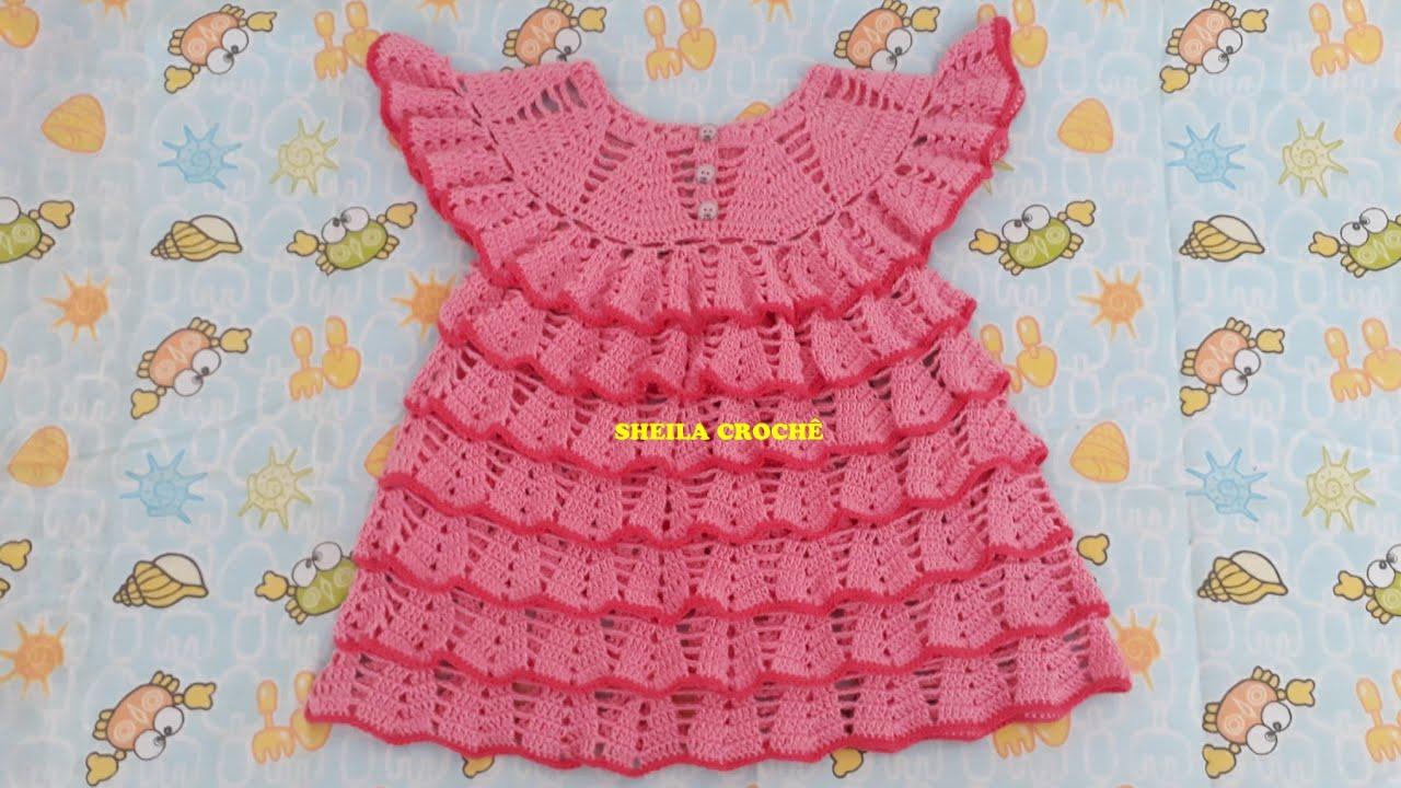 Vestido De Crochê Pra Criança De 1 A 2 Anos
