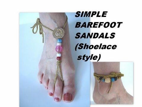 Simple Barefoot Sandals Shoelace Or Ankle Bracelet Youtube