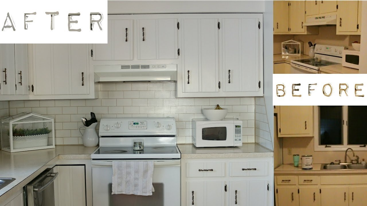Farmhouse Kitchen Makeover Budget Friendly Painting Subway Tiles Adaline Zook Youtube