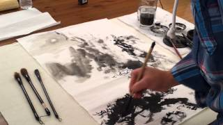 "Sumi Landscape Paintings Inspired by the Song Poetic Challenge ""Old Temple Hidden in Deep Mountain"""