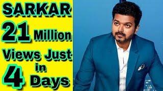 Sarkar teaser records breaking views on youtube/21million views just in 4 days /VIAJAY Kumar