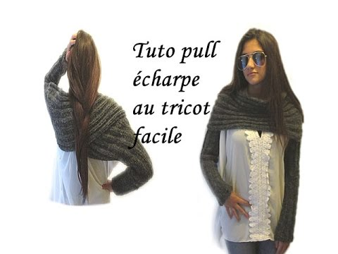 tuto pull echarpe au tricot longue echarpe a manche pattern great scarf knitting youtube. Black Bedroom Furniture Sets. Home Design Ideas