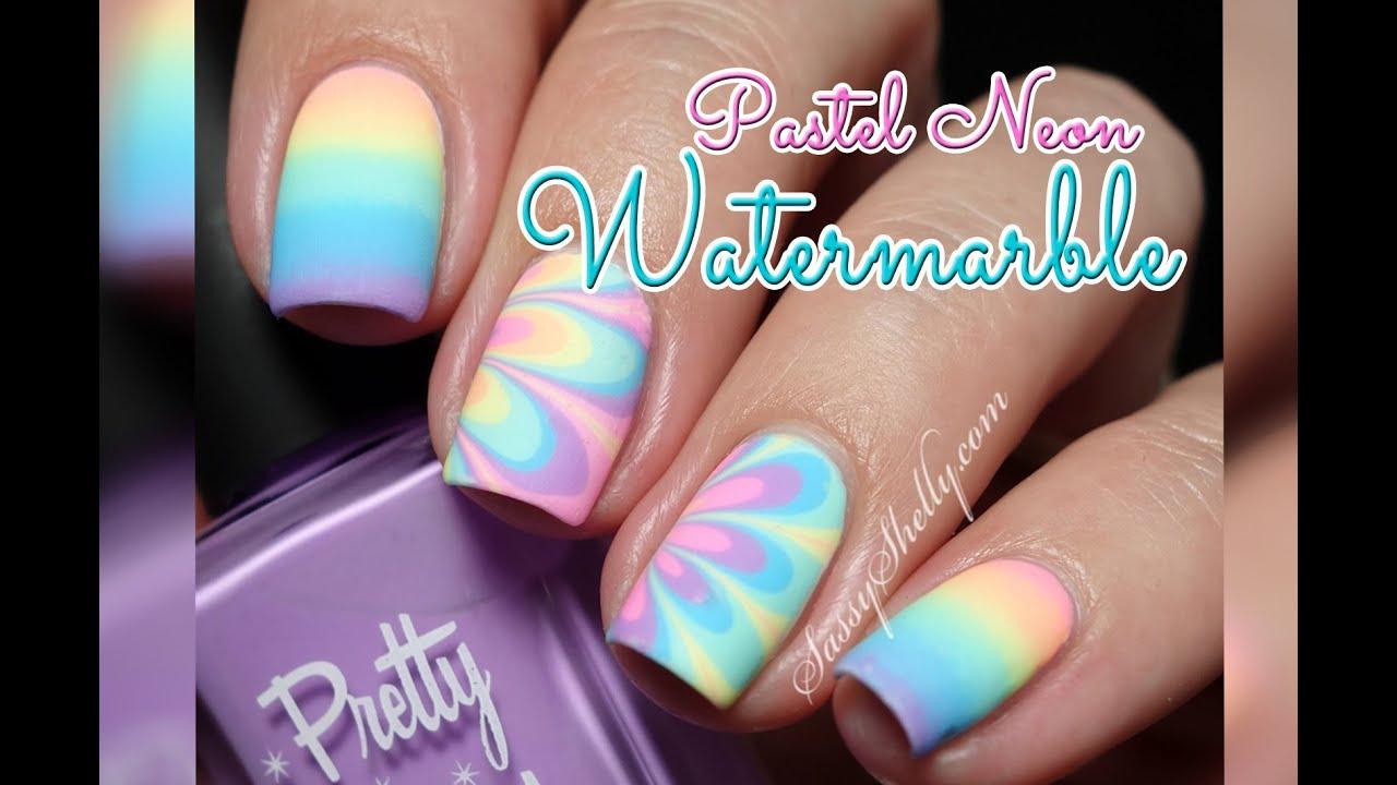 Pastel Summer Neon Gradient: Pastel Neon RAINBOW! Watermarble & Gradient Nail Art