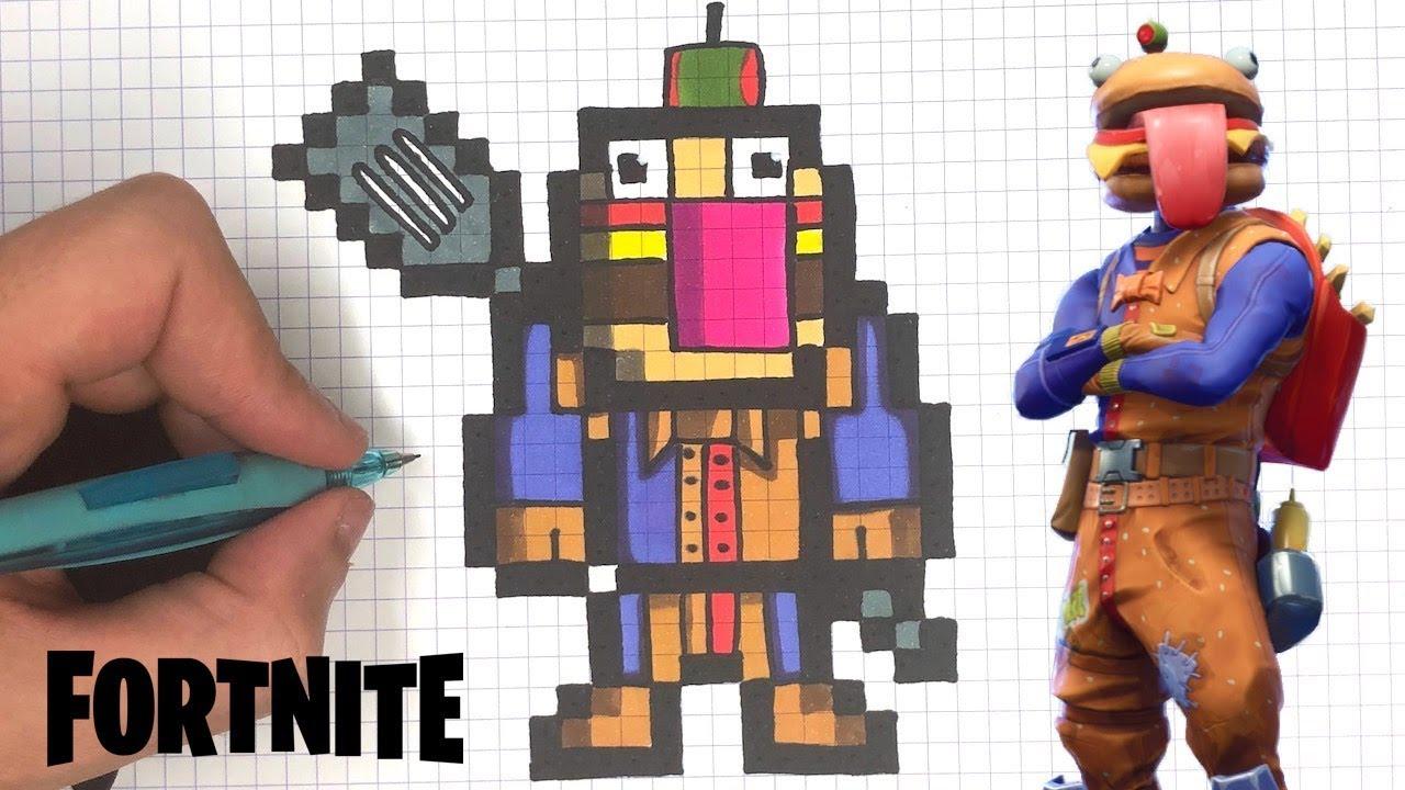 Como Dibujar Burger Pixel Art Fortnite
