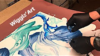 Fluid Painting Acrylic STRING SWIPE!'Ghosts at Sea' Fluid Art Abstract Painting Demo Tutorial..