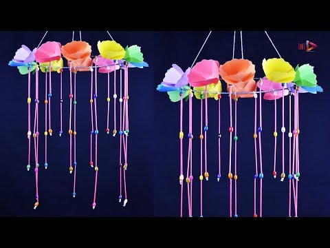 How To Make Easy Paper Flower Jhumar With Straws - DIY Flower Wind Chime