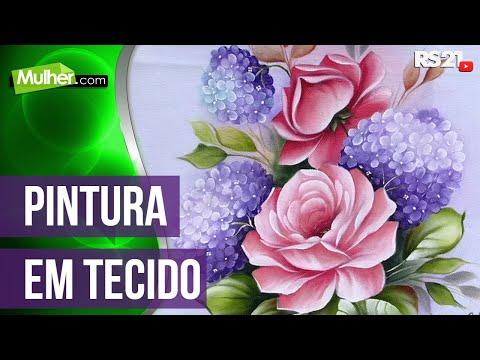 Pintura de tecido rosas hortênsias por Ana Laura Rodrigues -29/05/2014 - Mulher.com - Parte 1/2