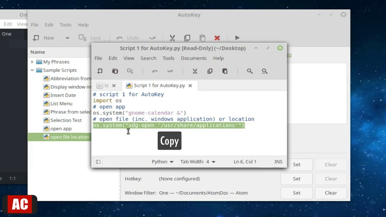 Open App and File with One Press on Linux Mint Cinnamon - autokey-gtk