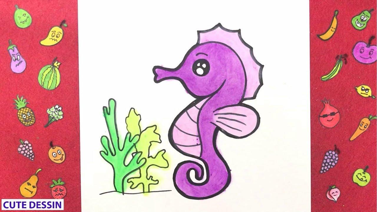 Comment dessiner et colorier un hippocampe mignon ...