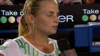 Jelena Dokic oncourt interview after her AO09 R2 win