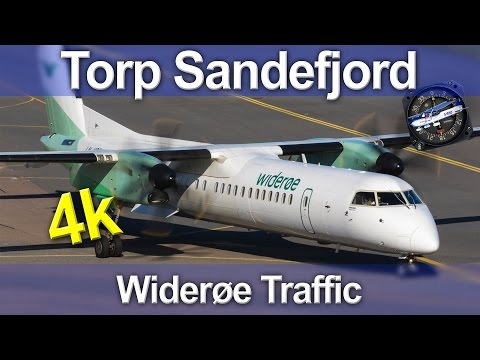 Torp Sandefjord Airport - Widerøe Dash-8 Q400 Traffic - 4K