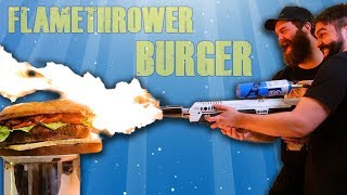 50lb BURGER COOKED BY FLAMETHROWER!!!