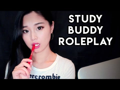 [ASMR] Study Buddy Roleplay - Paper and Pen Sounds, Inaudible Whispers, Keyboard Typing