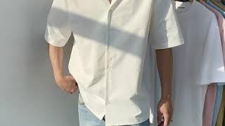 베이직 반팔 오픈카라 셔츠