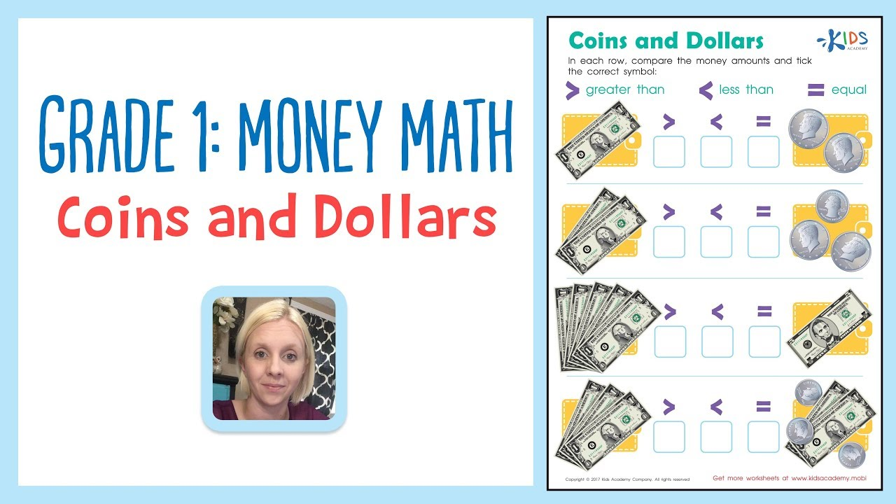grade 1 money math coins and dollars worksheet kids academy youtube. Black Bedroom Furniture Sets. Home Design Ideas