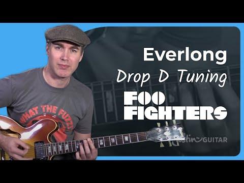 Foo Fighters - Everlong Guitar Lesson Tutorial - Chords Strumming Drop D Tuning