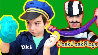 Police Costume Pretend Play + How to Make Fluffy Slime Tutorial