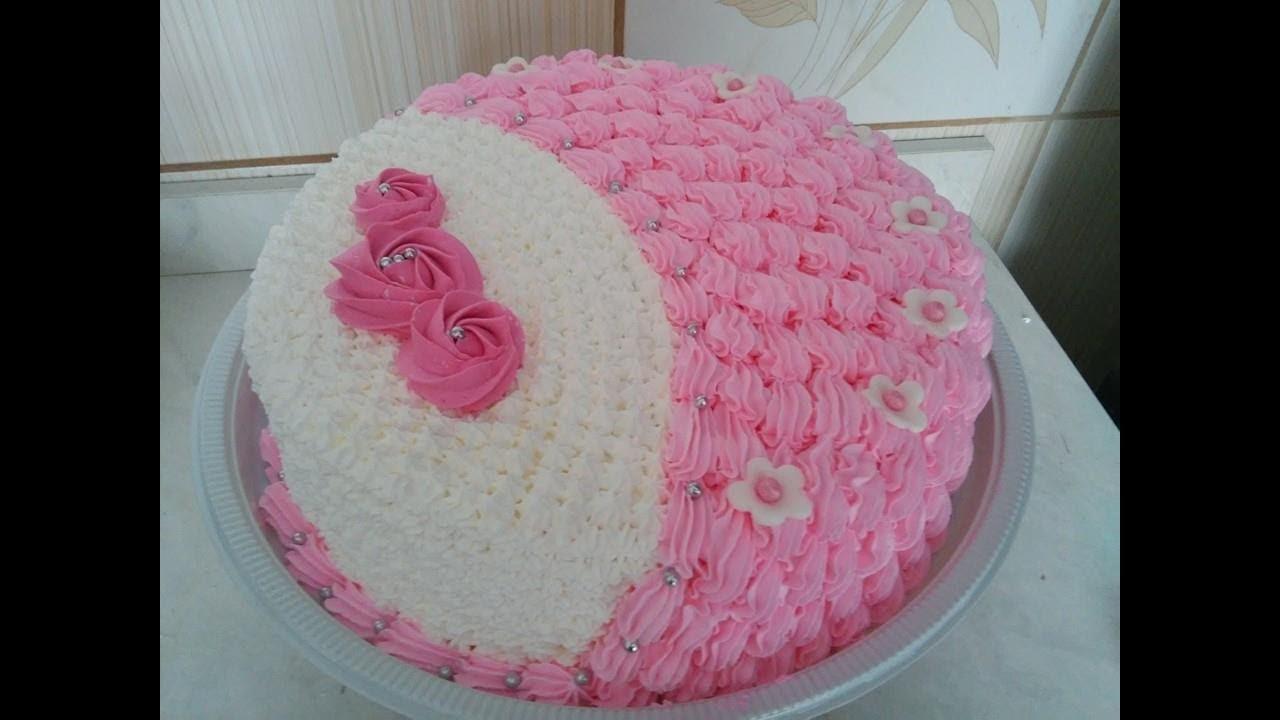 Famosos Decoração de bolo com Chantilly - Tema Feminino - YouTube QV24
