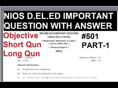 1  NIOS D EL ED IMPORTANT QUESTION With Answer कोर्स 501 (PART-1)  MCQ,SHORT,LONG QUN