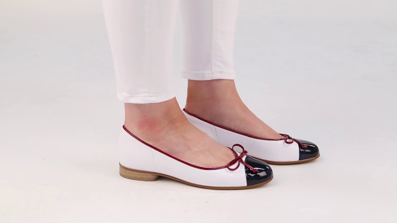 ca94e8683a78 Gabor Bunty Marine White Cherry Womens Leather Ballet Pumps - YouTube