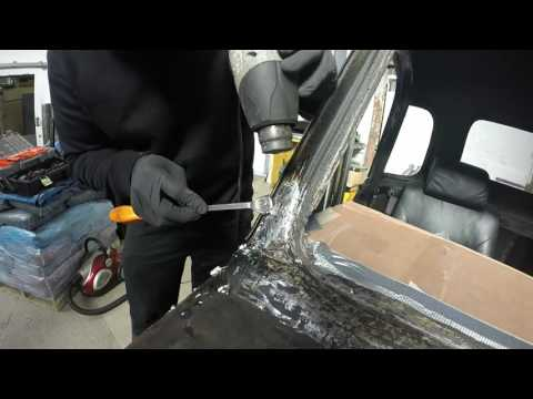 Classic car body repairs, see how lead was used as a filler!