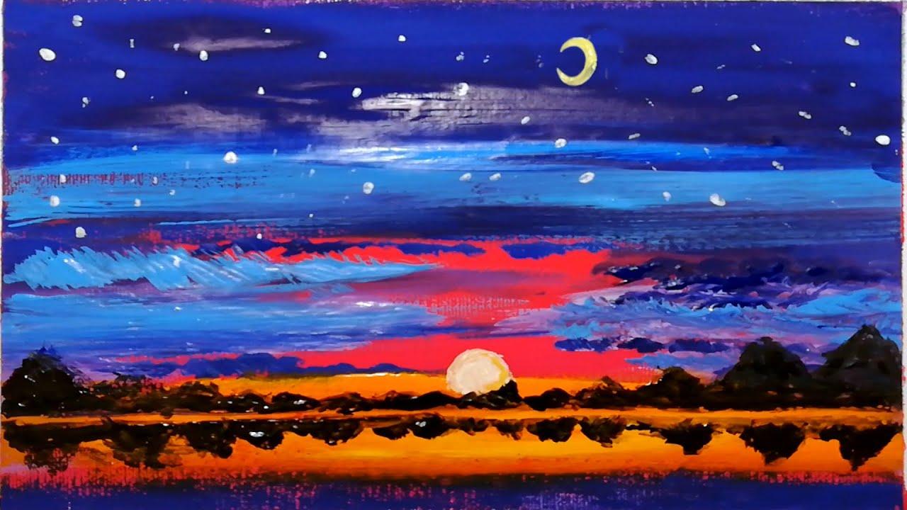 Paesaggio tramonto - acrilico su tela