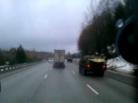 Passing Some Army APC's (Personnel Carriers) on I-90 in Washington