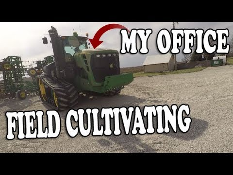 Spring Field CULTIVATING  John Deere 9630T and 2210 FIELD Cultivator