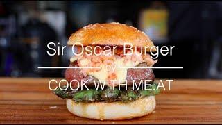 Sir Oscar Steak Burger - Aspargus, Beef Filet, Sauce Hollandaise & Crab Meat - COOK WITH ME.AT