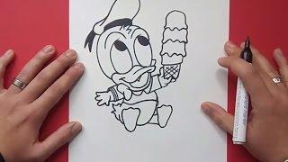 Como dibujar al pato Donald paso a paso 4 - Disney | How to draw Donald duck 4 - Disney